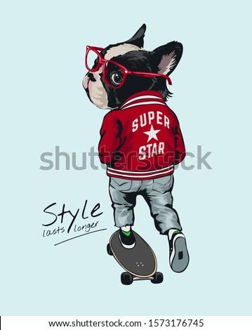 style slogan with stylist dog on skateboard illustration