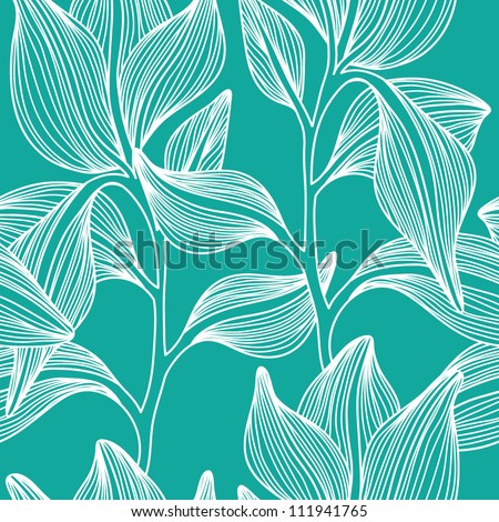 Stylish colorful vector floral leaf seamless pattern with text
