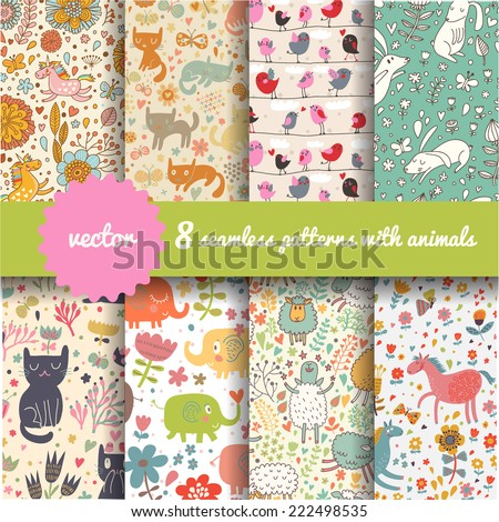 8 stylish seamless patterns...