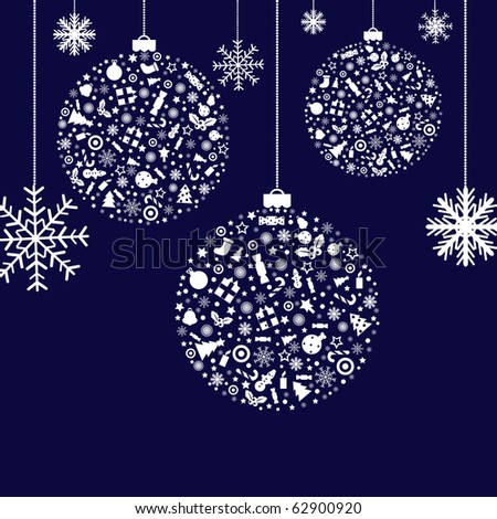 3 Stylized Christmas Balls, On Blue Background, Vector Illustration