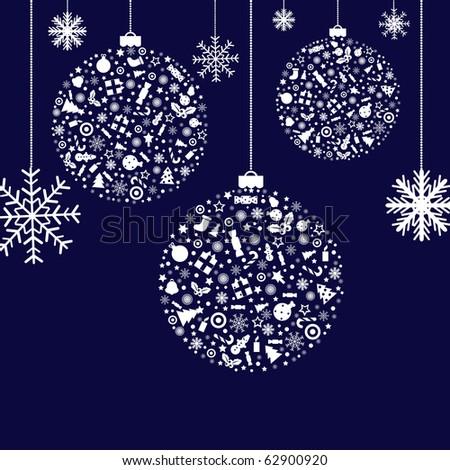 3 Stylized Christmas Balls, On Blue Background, Vector Illustration