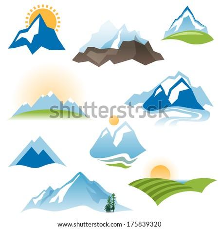 9 stylized landscape icons over