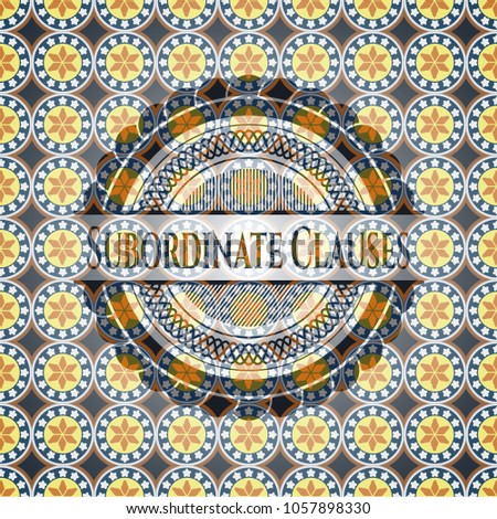 Subordinate Clauses arabic badge background. Arabesque decoration.