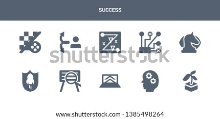 10 success vector icons such as startup, startup head, startup laptop, project search, shield contains strategic vision, strategical planning, strategy, strategy choice, strategy game. success icons