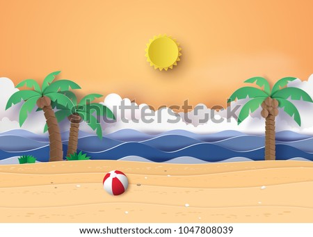 Stock Photo  Summer beach and palm trees on the beach. Paper art and digital craft style.