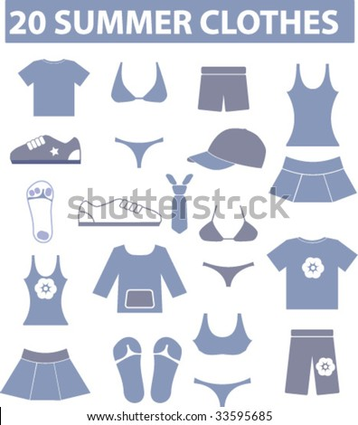 20 summer clothes. vector. visit my portfolio for more signs