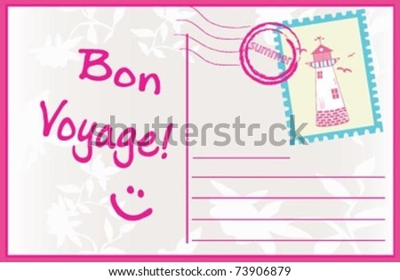 "SUMMER Post card "" Bon Voyage"". - stock vector"