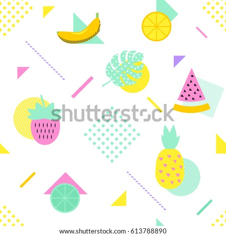 Summer seamless pattern with fruits and geometric elements in memphis style. Vector background.