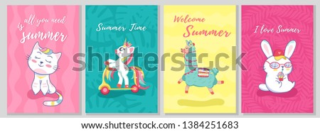 Summer template card set with cat, llama, unicorn, bunny and kitty rabbit