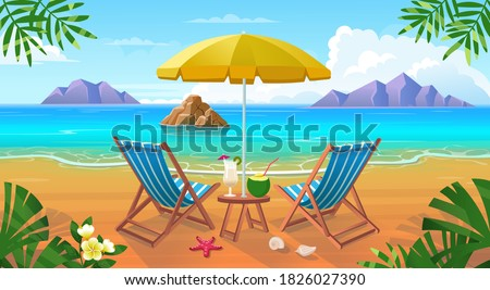 Summer tropical beach with sun loungers, table with cocktails, umbrella, mountains and islands. Seaside landscape, nature vacation, ocean or sea seashore.Vector cartoon illustration.