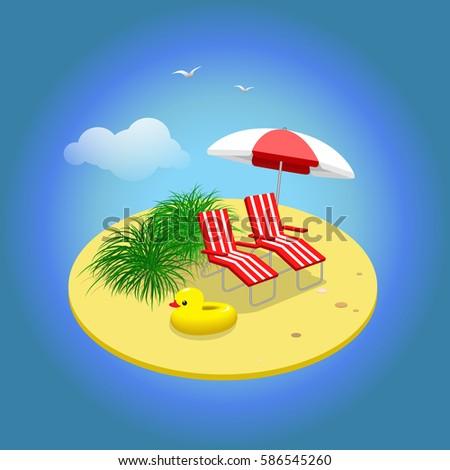 summer vacation sandy island