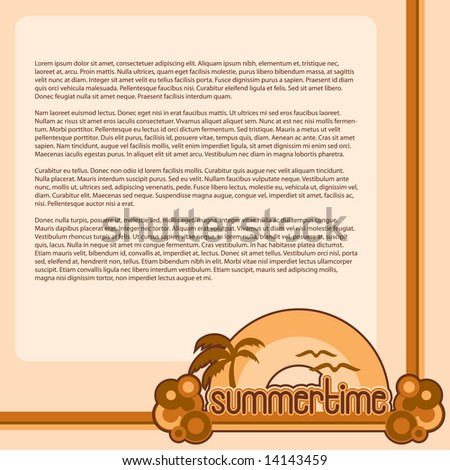 """Summertime"" vector with hand-drawn lettering, sunshine, palm trees and birds. 1980s retro style bubble graphics. Space to add your own copy."