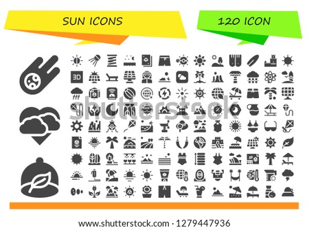 sun icon set. 120 filled sun icons. Simple modern icons about  - Meteorite, Ecologism, Storm, Brightness, Sputnik, Spring, Sea, Deck, Swim shorts, Solar system, Sun, Hill, Flippers