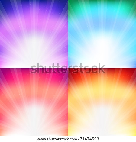 4 Sunburst  And Abstract Backgrounds, Vector Illustration - stock vector