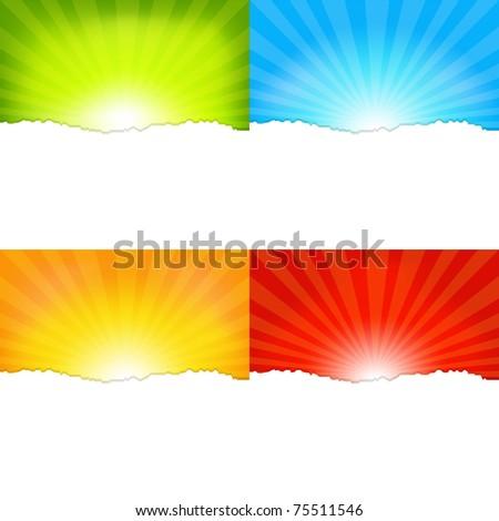 4 Sunburst Backgrounds, Vector Illustration