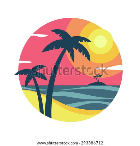 sunrise with palm trees on the