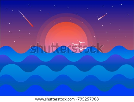 sunset on the blue sea against