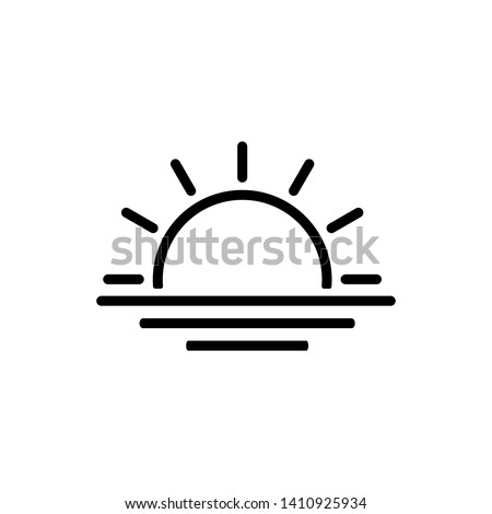 sunset or sunrise icon vector