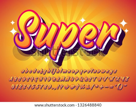 """super"" amazing text effect, warm orange summer with sun burst background, bold brush script font."