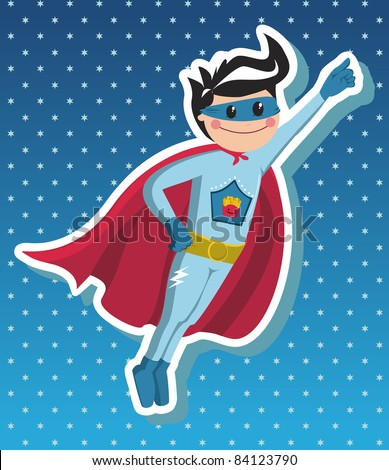 Superhero boy flying on blue background with little stars. Vector available.