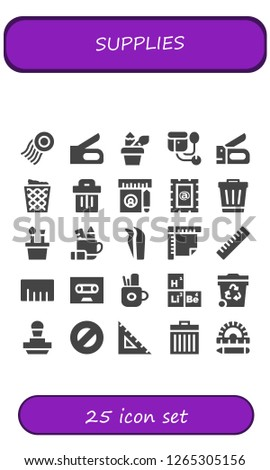 supplies icon set. 25 filled supplies icons. Simple modern icons about  - Stamp, Stapler, Pencil case, Sphygmomanometer, Trash can, Trash, Ruler, Tweezers, Tape, Periodic table