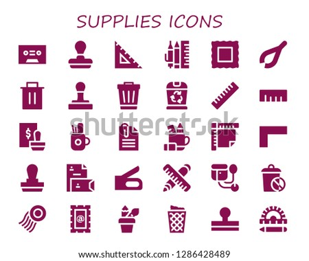 supplies icon set. 30 filled supplies icons. Simple modern icons about  - Tape, Stamp, Ruler, School material, Tweezers, Trash, Pencil case, Paperclip, Stationery, Stapler, Sphygmomanometer