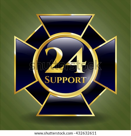24 Support golden emblem or badge