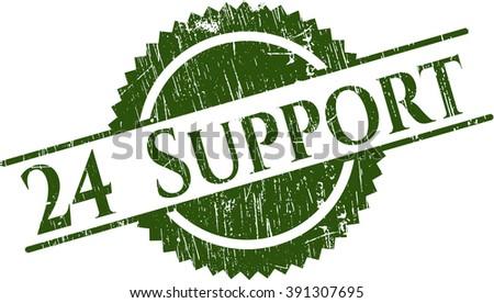 24 Support grunge style stamp