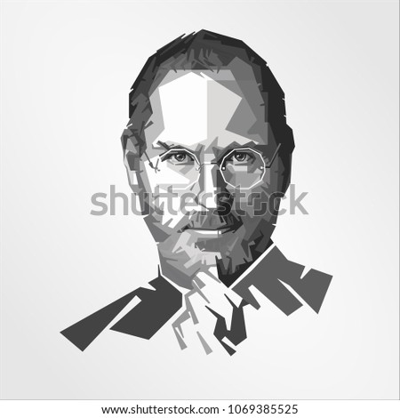 Surabaya Indonesia, Apr 2018: vector isolated portrait stylized illustration Steven Jobs American entrepreneur business magnate inventor industrial chairman chief executive officer  co-founder