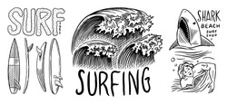 Surf badge. Retro Wave. Vintage Surfer logo. Summer California labels. Man on the surfboard, beach and sea. Engraved emblem hand drawn. Banner or poster.