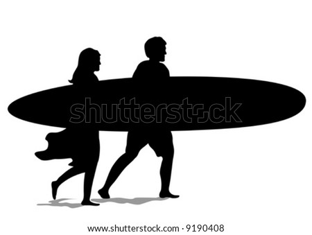"""Surf Couple Silhouette"" vector is hand drawn original artwork in AI-EPS8 format."