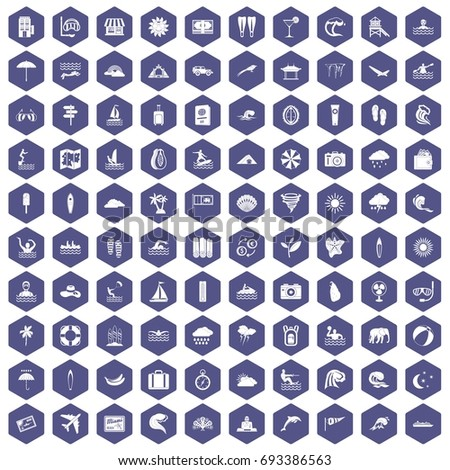 100 surfing icons set in purple