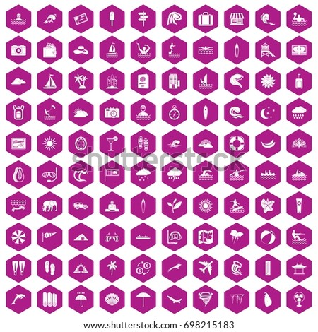 100 surfing icons set in violet