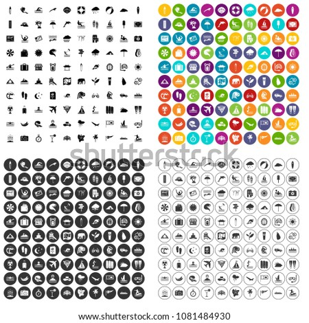 100 surfing icons set vector in