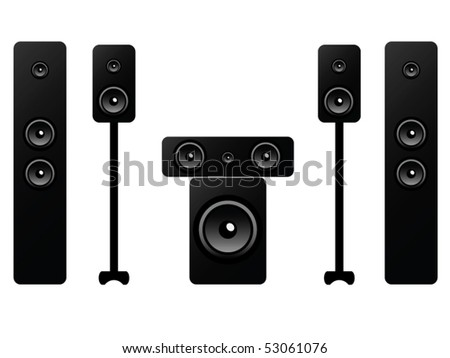 sound system clipart. 5.1 surround sound system isolated on white background clipart
