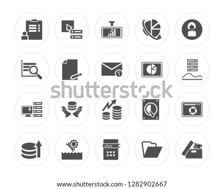 20 Survey, Database, Xlsx, Streaming, Demographic, Dashboard, Data, Computer, File modern icons on round shapes, vector illustration, eps10, trendy icon set.