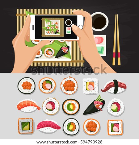 Sushi, Japanese food.Sushi rolls flat food and japanese seafood sushi rolls. Asia cuisine restaurant delicious.Photos food. Sushi roll with salmon, smoked eel, selective food vector.