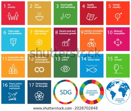 17 Sustainable Development Goals set by the United Nations General Assembly, Agenda 2030. Isolated icon set. Vector illustration EPS 10