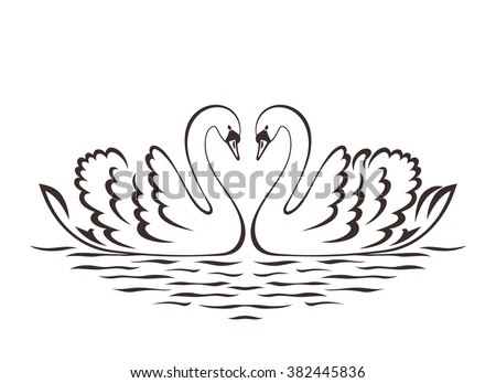 swan couple silhouette vector
