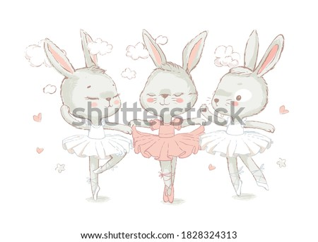3 Sweet ballerina bunnys illustration vector for print design and other uses. White dancing rabbits illuatration. Can be used for t-shirt print, kids wear fashion design, baby shower invitation card. Foto d'archivio ©