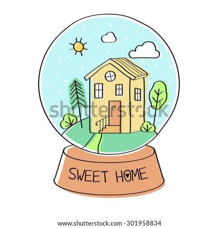 Sweet home. Vector abstract illustration of a snow globe with a home inside