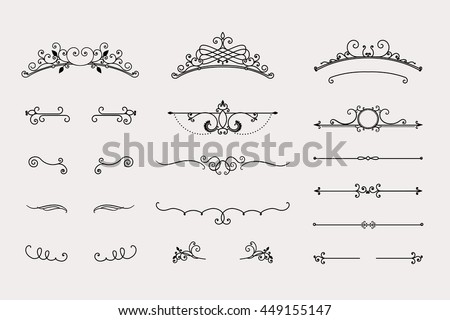 Swirls and dividers set, vintage headers, calligraphy elements - vector illustration.