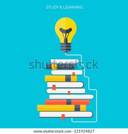 Symbo lFlat concept education background. Back to school. Distance learning. Study in university.