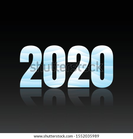 2020 symbol text style winter with aqua color. Background or poster design on the black background. Vector illustration EPS.8 EPS.10