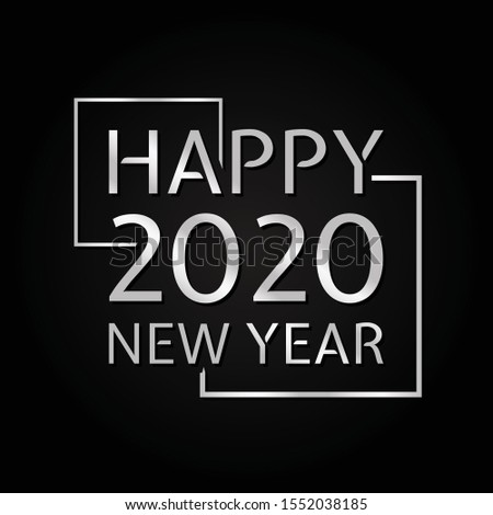 2020 symbol vector text Happy New Year with metal color. Background or poster design on the black background. Vector illustration EPS.8 EPS.10