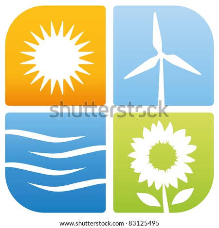4 symbols for renewable energies