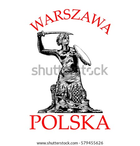 Syrenka, Mermaid Statue in  Warsaw, symbol of the city of Warsaw, at the Old Town Market Square, Poland. Vector Illustration engraved style Zdjęcia stock ©