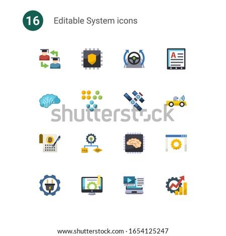 16 system flat icons set