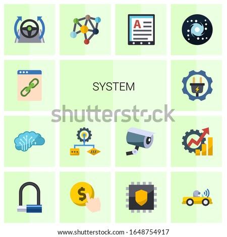 14 system flat icons set