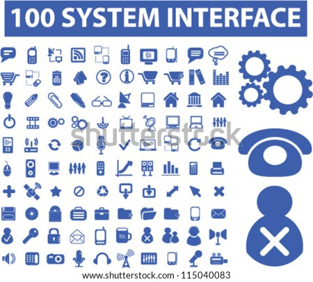 100 system interface icons set, vector